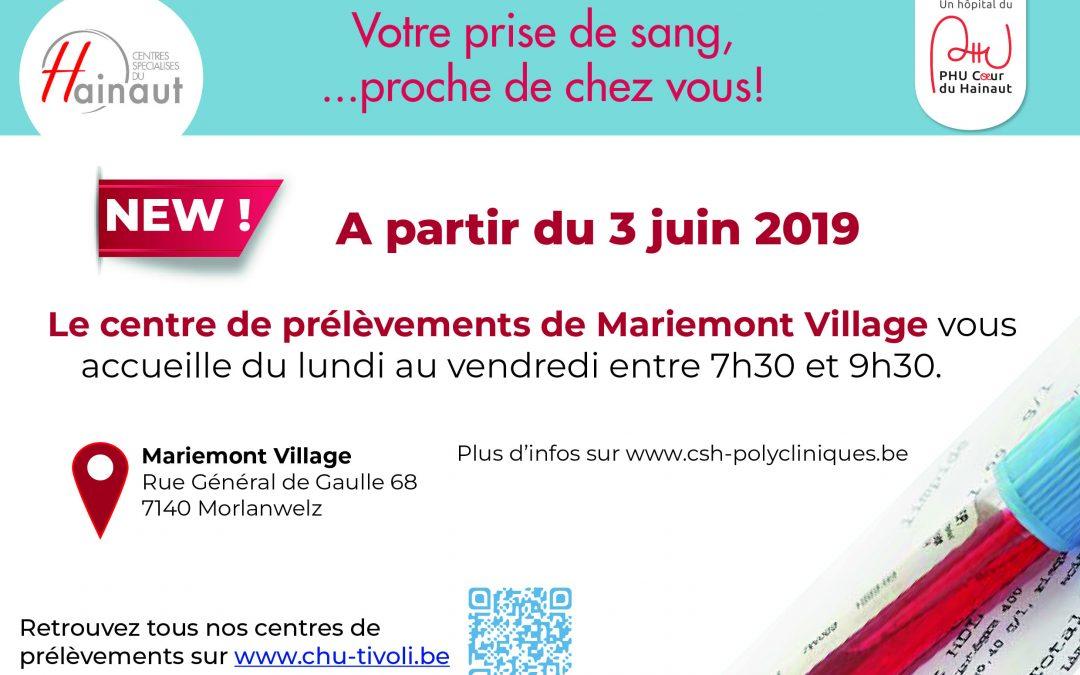 Dès le 3 juin – Un nouveau centre de prélèvements à Mariemont Village