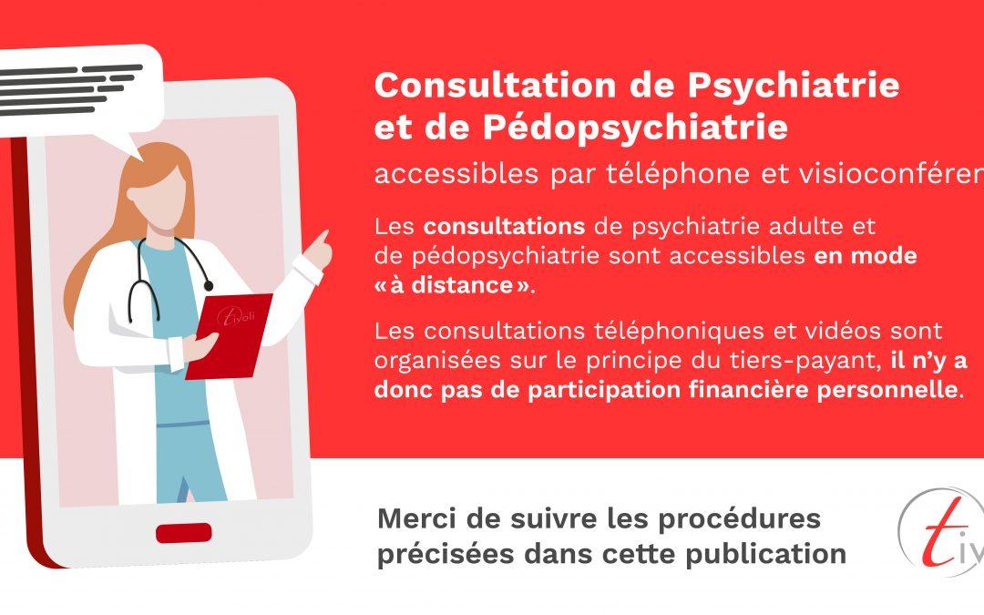 Consultation de psychiatrie et pédopsychiatrie accessibles par téléphone et visioconférence